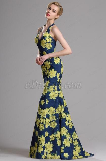 eDressit Halter Floral Print Mermaid Prom Evening Dress (00163268)