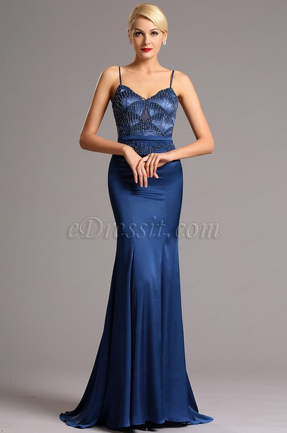 Spaghetti Straps Sweetheart Neck Blue Evening Dress Formal Gown (02161005)
