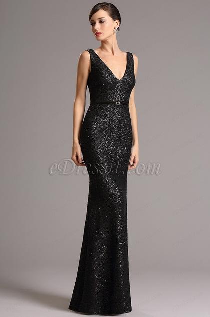Atemberaubend Schwarz V-Ausschnitt Pailletten Formal Kleid (00161700)