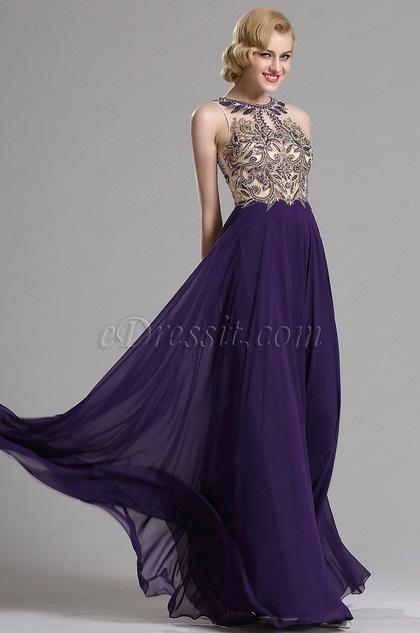 eDressit Purple Sleeveless Beaded Prom Evening Gown (36163306)