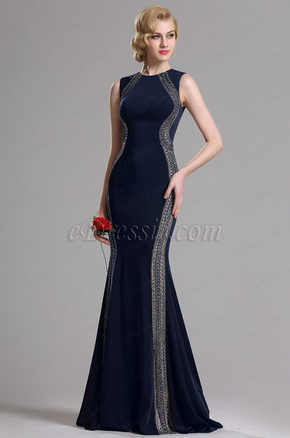 eDressit Dark Blue Beaded Mermaid Prom Evening Dress (36163405)