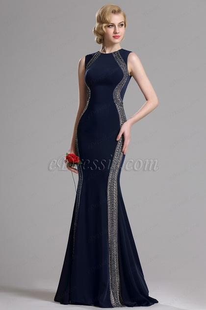 eDressit Robe de Soirée Sirène bijoux Perlés Bleu Foncé(36163405)
