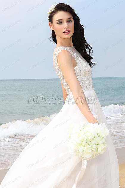 A Line Illusion Neck Beaded Bodice Wedding Dress (01160107)