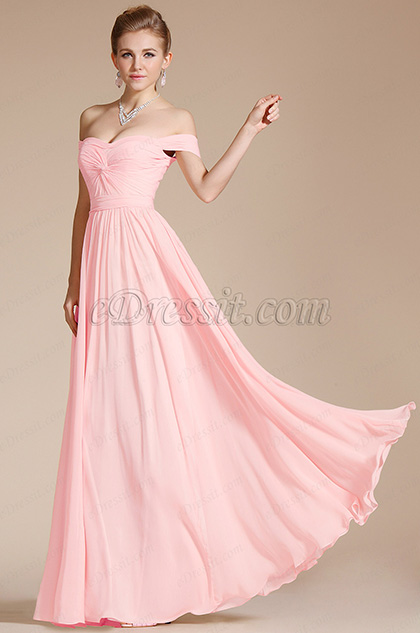 Off Shoulder Pink Evening Dress Bridesmaid Dress (07151701)