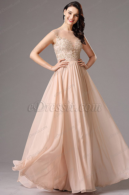 A Line Sleeveless Peach Gown with Beaded Embroidery (00162101)