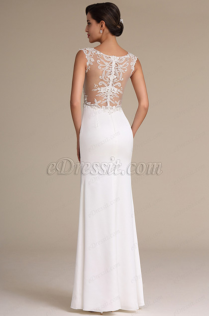 Sexy High Slit Plunging Neck Wedding Reception Dress 01160907