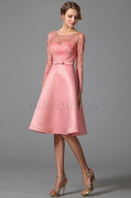 Розовое Коктейльное Платье с Длиными Рукавами (04151801)