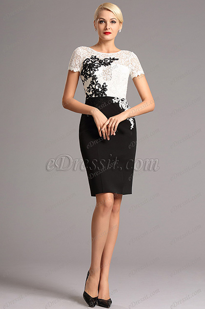 Short Sleeves Lace Applique Knee Length Cocktail Dress (26160807)