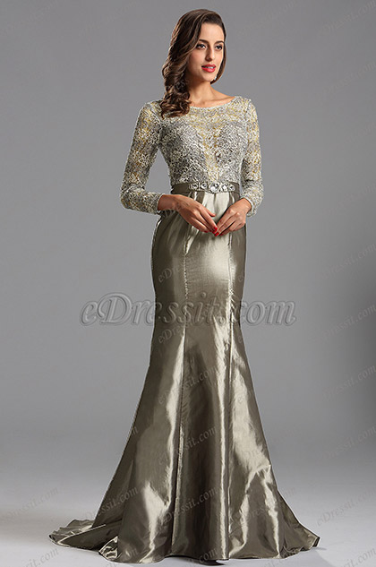 long lace sleeves grey prom dress evening dress x02152908. Black Bedroom Furniture Sets. Home Design Ideas