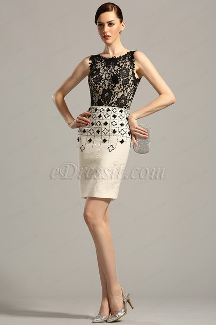 Stylish Sleeveless Short Black Cocktail Dress Day Dress (03150700)