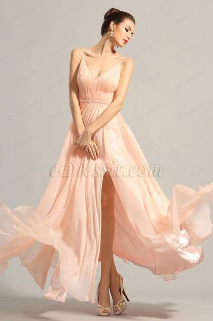 Robe de soirée longue rose plissée col en V (00153901)
