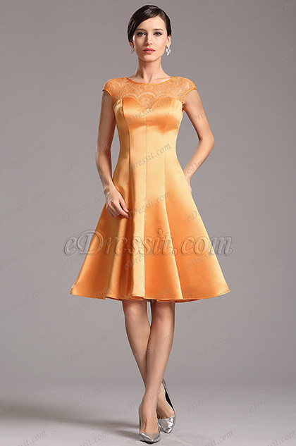 Orange Illusion Lace Neckline Party Dress Cocktail Dress (X04160310)