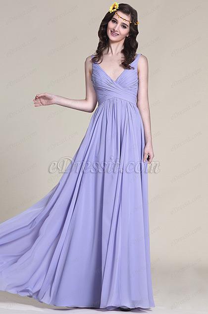 V Cut Lavender Bridesmaid Dress Evening Dress (07151606)