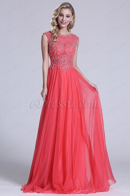 Sleeveless Beaded Bodice Coral Prom Dress (C36150357)