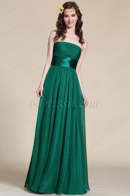 Тёмно Зелённое Вечернее Платье без Бретелек(07151404)