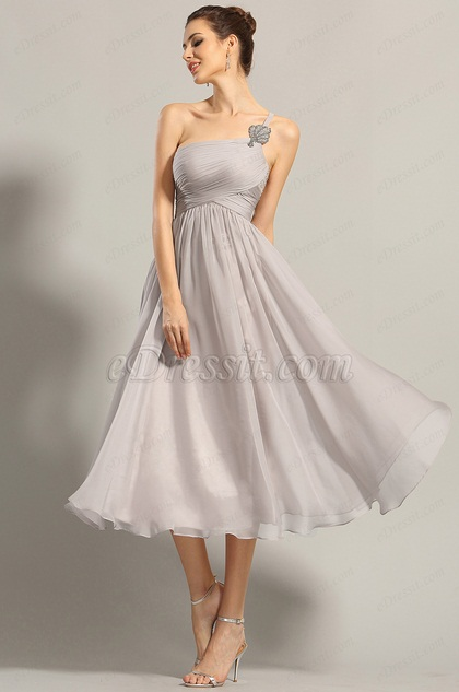 A Line One Shoulder Empire Waist Formal Dress (04152008)