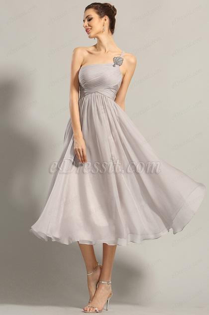 A Line One Shoulder Empire Waist Formal Dress (04152008)