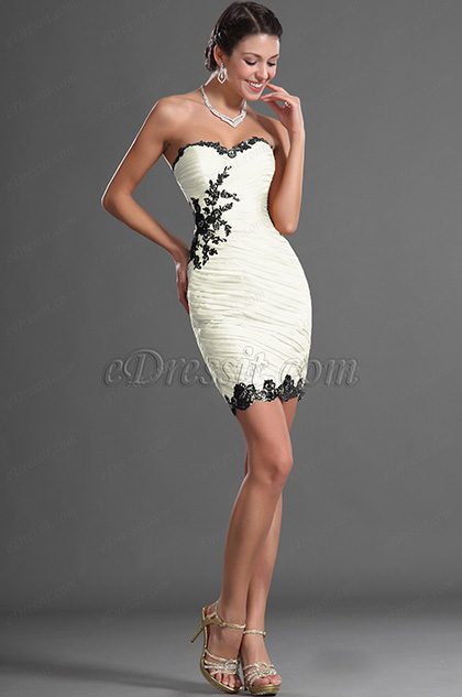 Fabulous Strapless Cream Cocktail dress (H04125624-1)