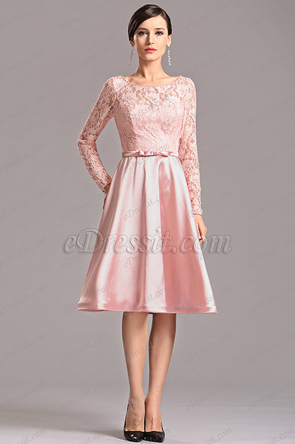 Long Lace Sleeves Pink Knee Length Party Dress X04151801 1