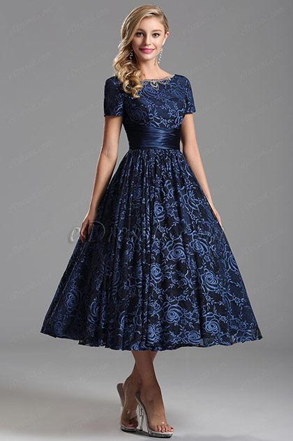 Kurze Ärmel V Rücken Blau Überknie Länge Party Kleid (X04151405)