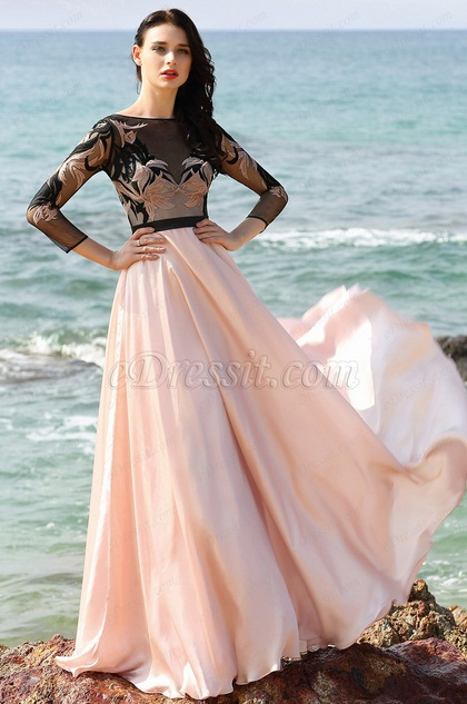 Edressit A Line Long Sleeves Pink Prom Dress Evening Gown