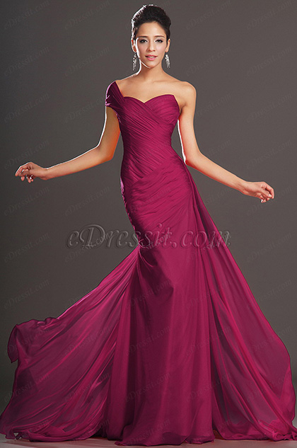 Elegant One Shoulder Dark Red Evening Dress (H00132102)