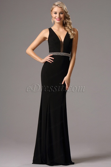 Plunging Neck Black Formal Gown with Beaded Waistband (36160600)