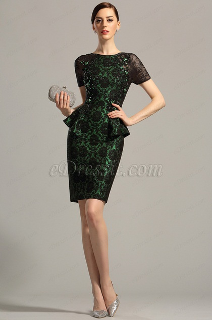 Short Lace Sleeves Green Short Dress Cocktail Dress (26153104)