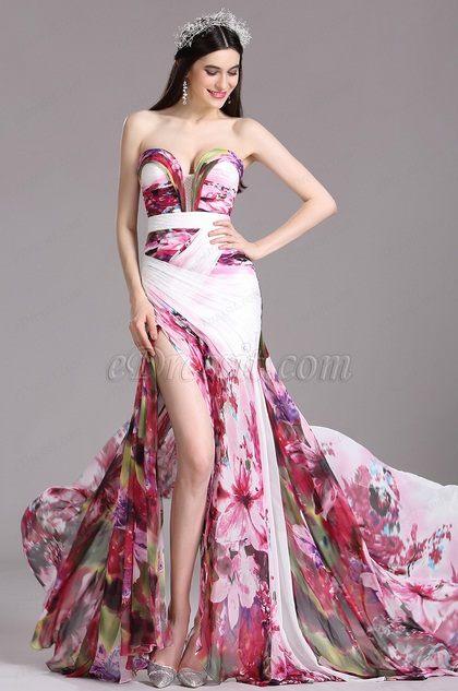 Strapless Sweetheart Printed Evening Dress Summer Dress (00120512)