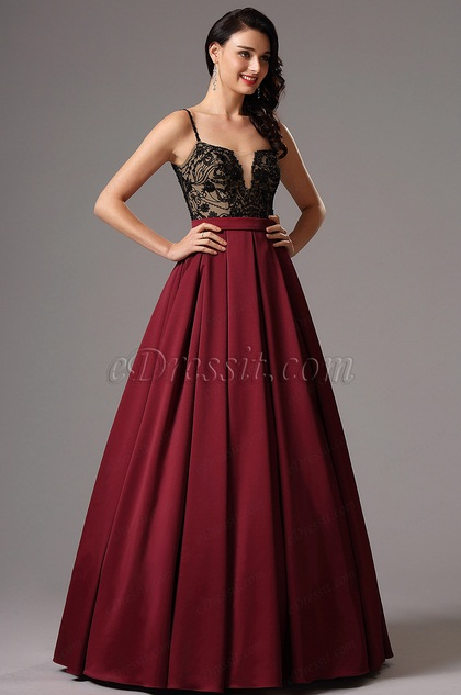 Spaghetti Straps Black Bodice Prom Ball Dress (02162117)