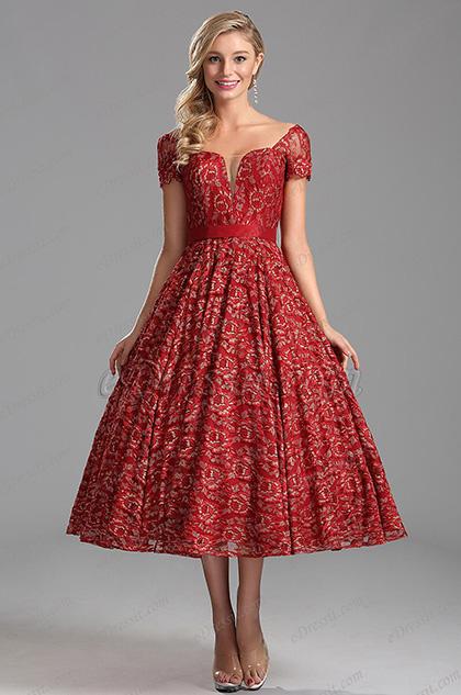 Flattering Capped Sleeves V Neck Burgundy Party Dress (X04145217)