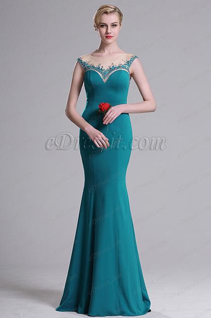 eDressit Blau Illusion Ausschnitt Süß Mermaid Kleid (02163412)