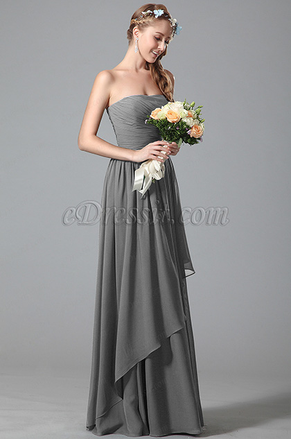 Strapless Grey Bridesmaid Dress With Asymmetric Hem (07156308)