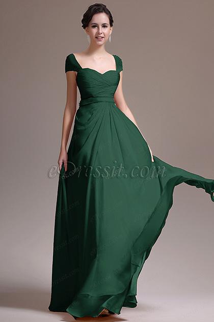 Beaded Cap Sleeves Prom Dress Evening Dress (H00137214-1)