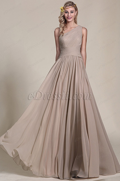 One Shoulder Grey Bridesmaid Dress Evening Dress (07154208)