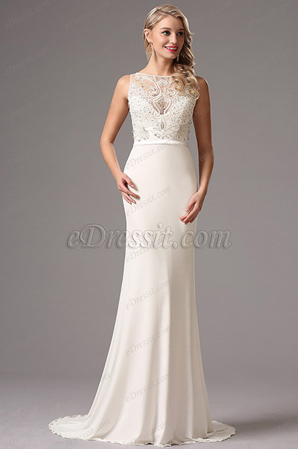 Sleeveless Beaded Bodice White Formal Dress Wedding Dress (01160607)