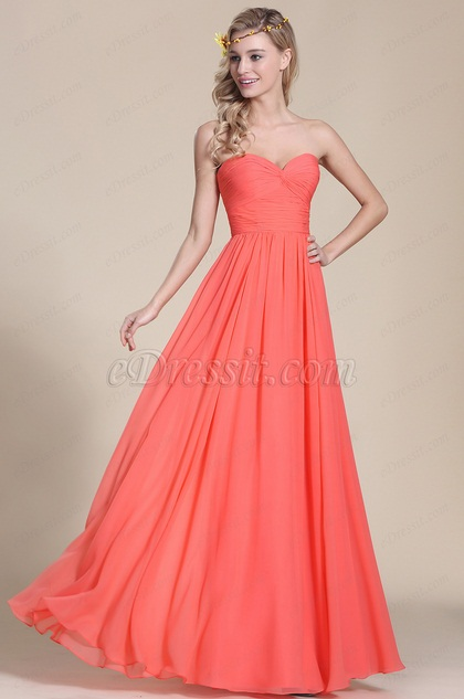 Edressit Strapless Sweetheart Coral Bridesmaid Dress
