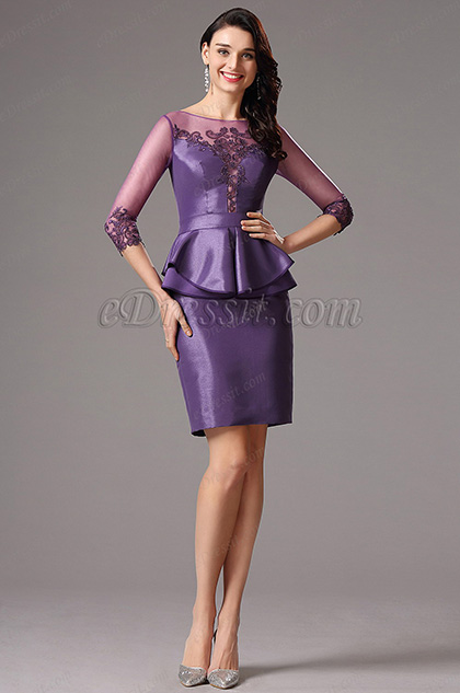 eDressit Long Sleeves Embroidery Sweetheart Cocktail Dress(26160206)
