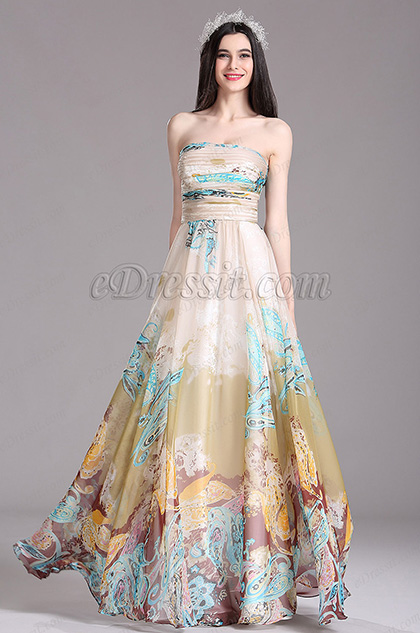 eDressit Beige Printed Strapless Long Summer Dress (X07151414-1)