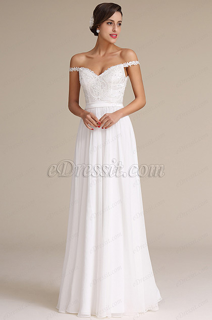Elegant Off Shoulder Bridal Reception Dress Wedding Gown (01161007)