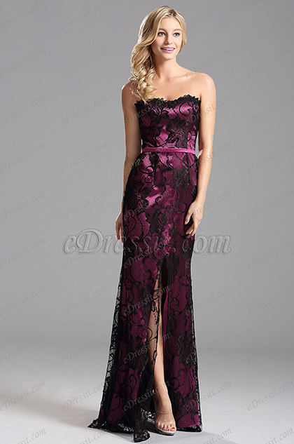 eDressit Floral Neckline High Slit Formal Dress Evening Dress (X07151212-3)