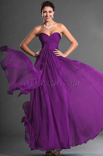 Strapless Sweetheart Purple Prom Dress (H00129005-1)