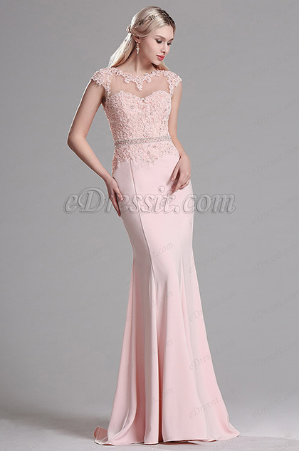 edressit pink lace beaded mermaid evening dress prom gown. Black Bedroom Furniture Sets. Home Design Ideas