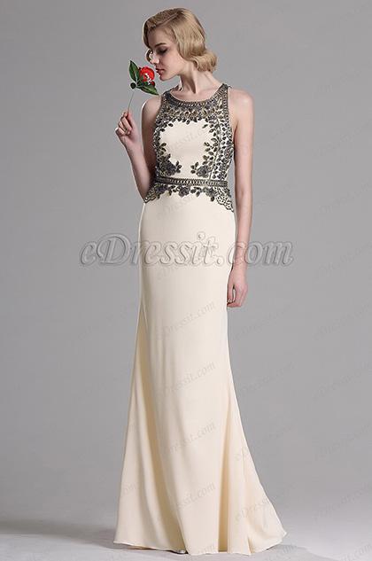 eDressit Beaded A Line Beige Prom Evening Dress (36163014)