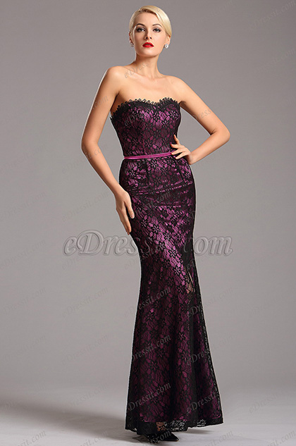 Strapless Sweetheart Neck High Slit Purple Formal Dress (X07151206)