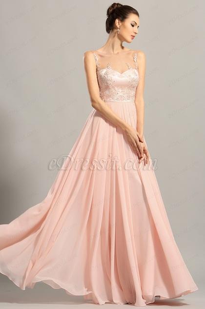 Элегантное Розовое Без Рукава Вечернее Платье для Выпускных(00153801)