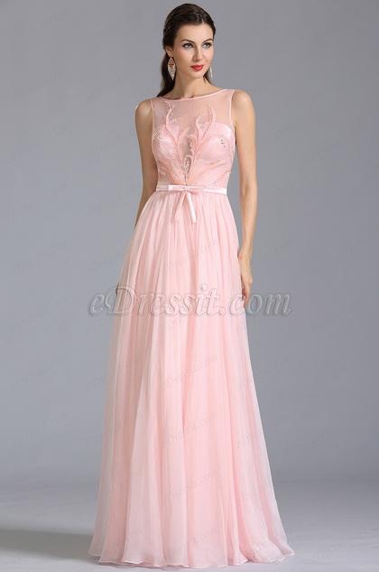 Ärmellos Gestickte Rosa Abendkleid Formal Kleid  (00154601)