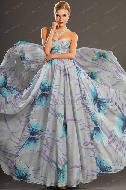 Gorgeous Printed Strapless Evening Dress (H00107506)