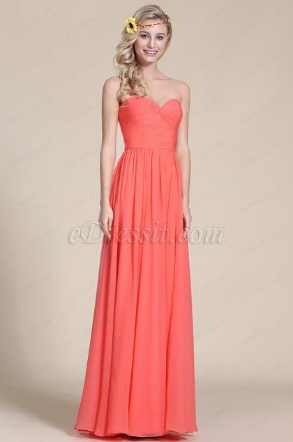 Edressit robe corail de demoiselle d 39 honneur longue for Robes de demoiselle d honneur aqua pour mariage sur la plage