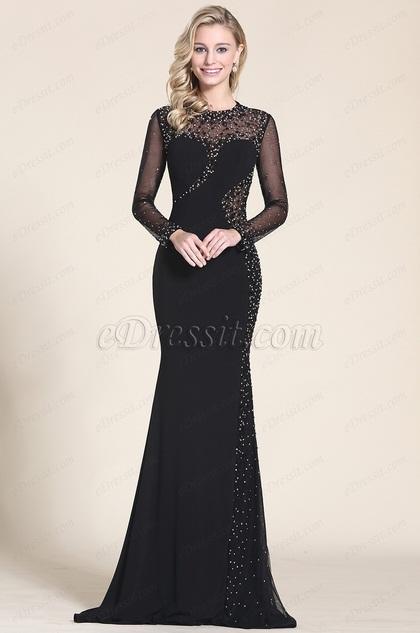 Schwarz Langen Ärmeln Wulstige Abschlussball Formal Kleid (C36152600)
